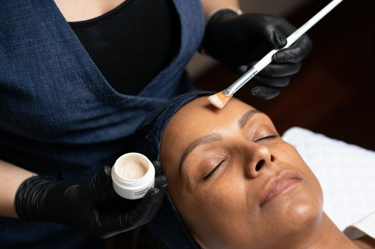 clinical peels being applied to treat skin condition