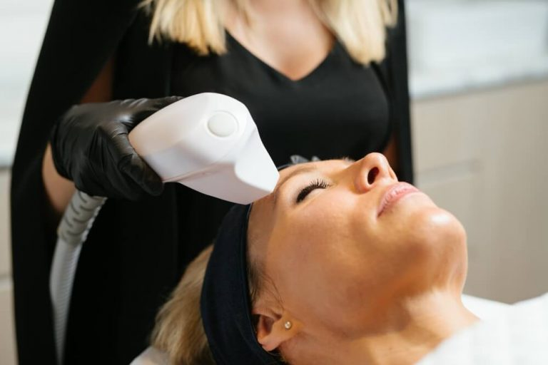 Radio-frequency Fractional Skin Resurfacing (FSR) treatment close up